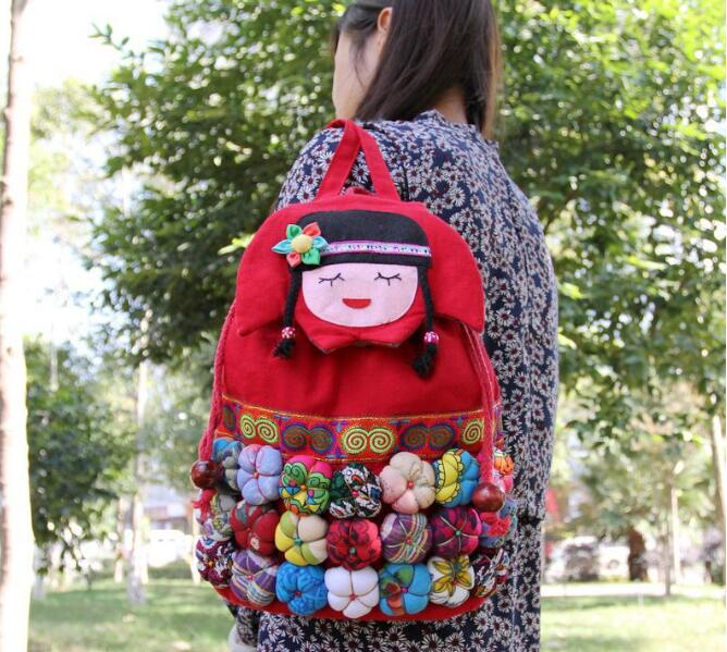 US $8.41 11% OFF|Handmade Retro Backpack Cute National Embroidered Shoulder Bag Girl Daypack Bags with Mini Pumpkin-in Backpacks from Luggage & Bags on Aliexpress.com | Alibaba Group