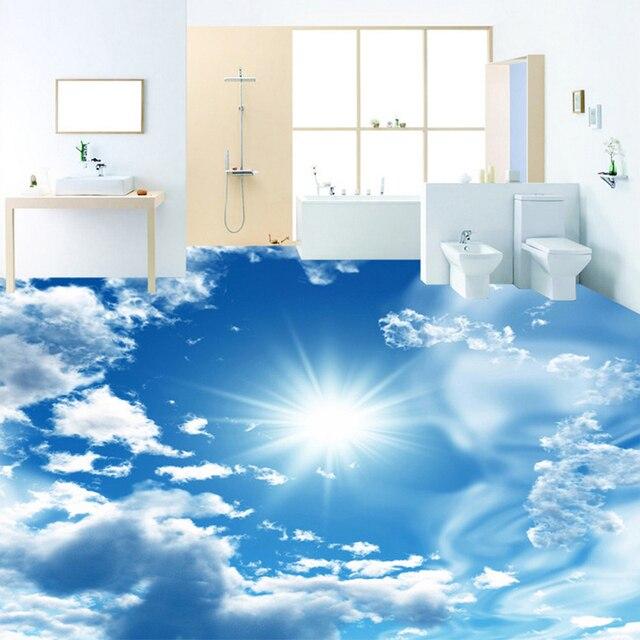 Awesome Custom Mural Wallpaper Modern Blue Sky Sunshine Floor Tiles Sticker  Bathroom PVC Self Adhesive Waterproof Flooring