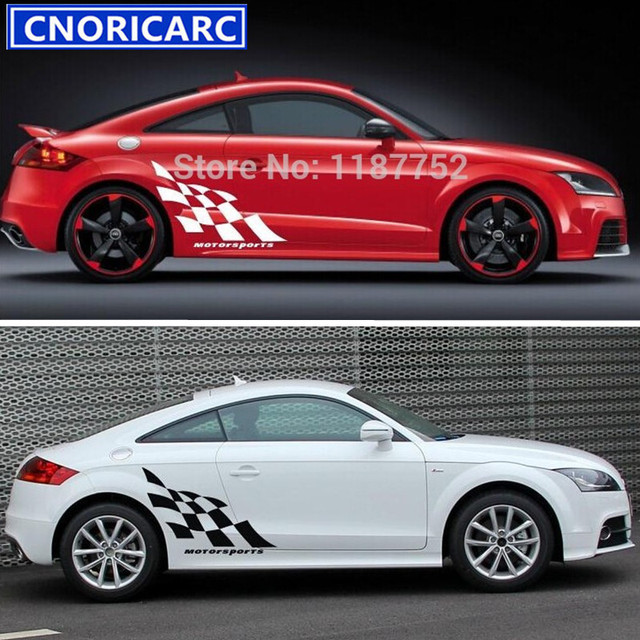 CNORICARC Racing Flag Vinyl Sticker Car Door Decal Auto Body - Audi auto body