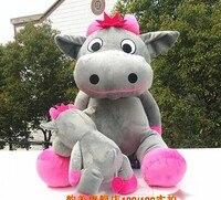 Огромный Прекрасный Корова плюшевая игрушка Сидящая серая плюшевая игрушка кукла большой рот корова игрушка подарок на день рождения окол