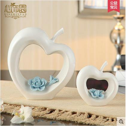white ceramic creative apple home decor crafts room decoration ornament porcelain figurines christmas articles decorations - Home Decor Articles