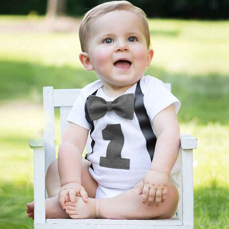 Baby Boy 1st Birthday Romper Toddler Boys Summer Clothes Infant Jumpsuits For 1 Year Old Little Baby White Gentleman Rompers 12M