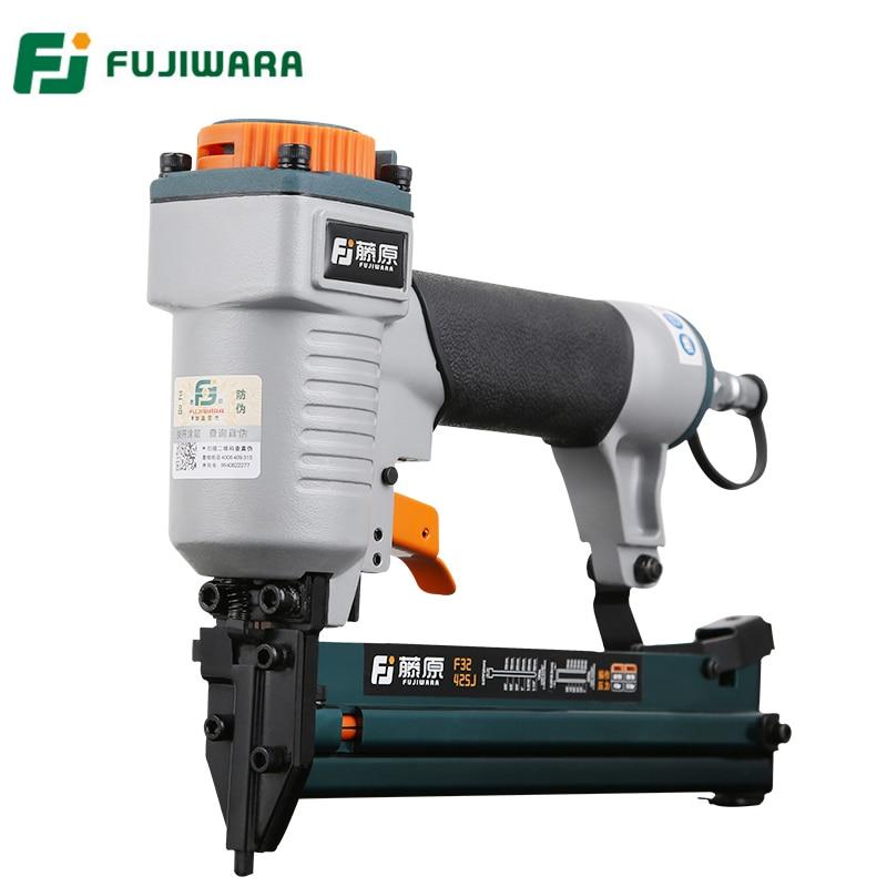 FUJIWARA 2 in 1 Carpenter Pneumatic Nail Gun Woodworking Air Stapler Home DIY Carpentry Decoration F10