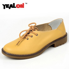 YEALON 2016 New Women's Flats Casual Shoes Lace Up Women Genuine Leather Shoe Sapatos Femininos Sapatilha Oxford Shoes For Women