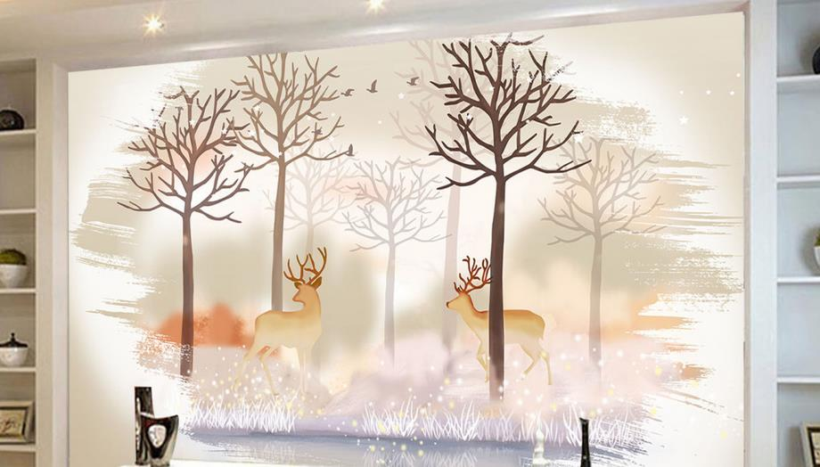 Custom 3d Modern American style wallpaper Non-woven living room Bedroom Kids Room Backdrop Wall paper Deer forest meredith clausen pietro belluschi – modern american architect paper