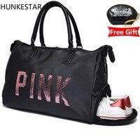 2018 Sequins black women gym bag Fitness Travel Handbag Outdoor Separate Space For Shoes sac sports women's bag