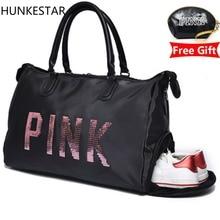 2018 блёстки черный для женщин gym bag фитнес дорожная сумка Открытый отдельное пространство для обувь sac спортивная женская