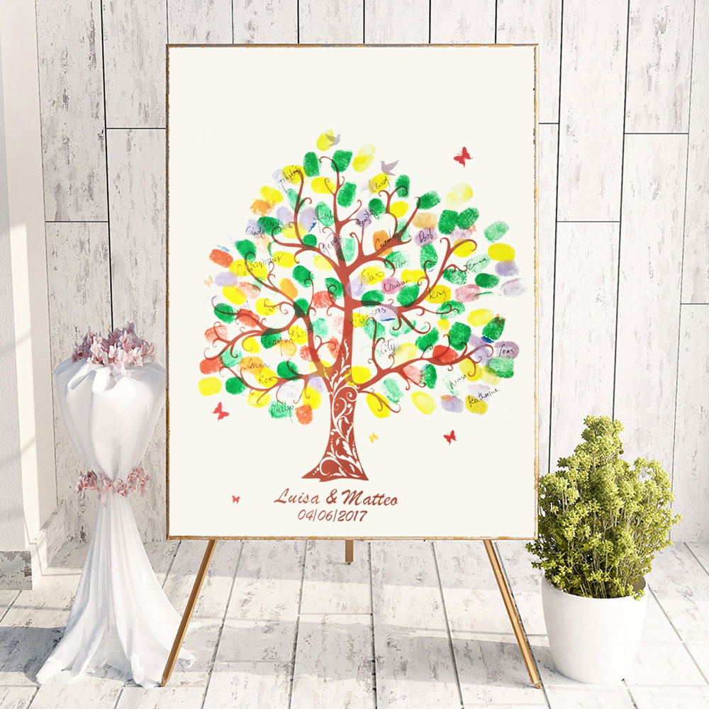 Personalize Names Date Wedding Sign Guest Book Fingerprint Thumbprint Tree Wedding Birthday Baby Shower Communion Idea Keepsake image
