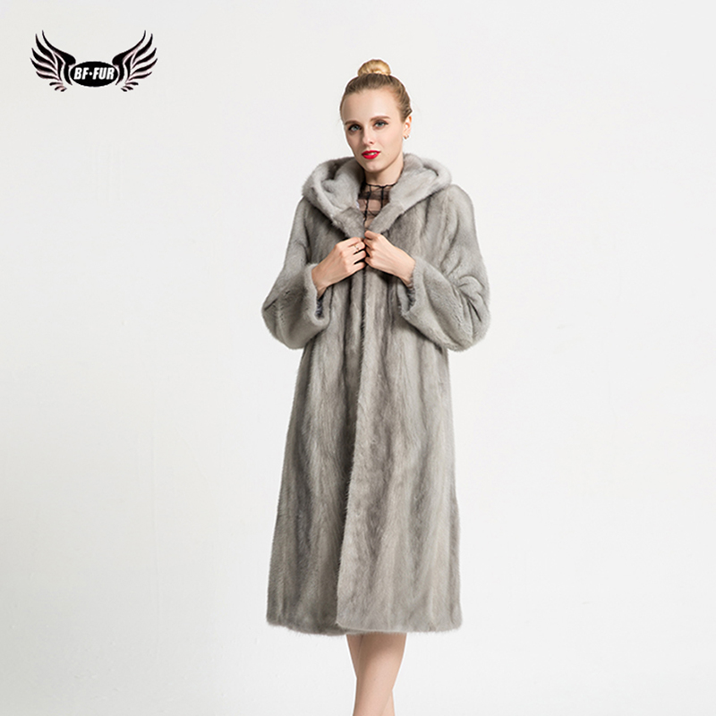 BFFUR Mink Jacket Women`s Real Mink fur Coat Thick Warm Coat Winter Outwear Natural Color Parka For Women`s Genuine Fur BF-C0522