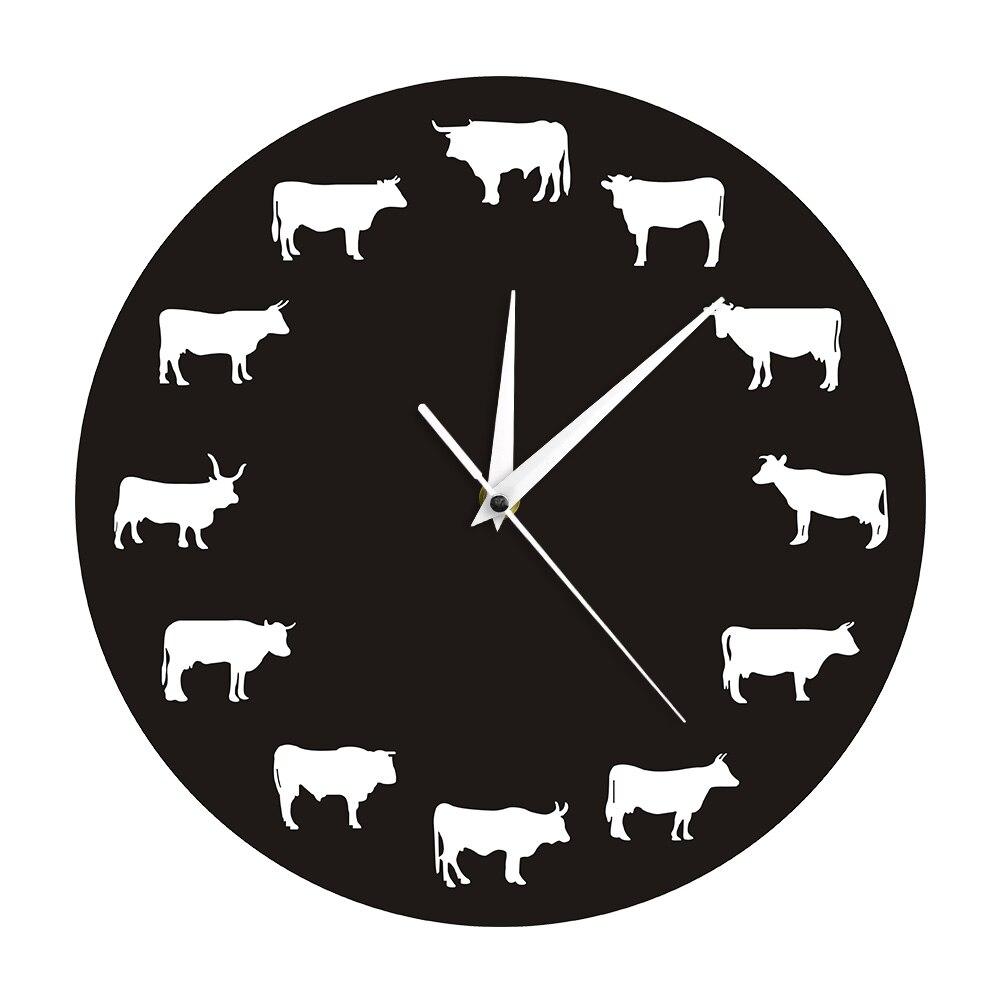 Bison Silhouette Wall Clock Farmhouse Farm Animals Highland Cow Bull Buffalo Nursery Wall Decor Hanging Time Clocks