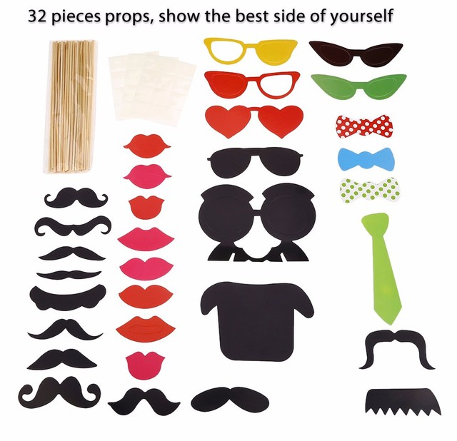 32pcs colorful photo shooting booth props for christmas birthday 32pcs colorful photo shooting booth props for christmas birthday halloween wedding party festival decoration accessories solutioingenieria Image collections