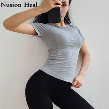 2019 Yoga Shirts Sport Crop Top Quick Dry Women Seamless Short Sleeve Womens Workout Tops Sports Wear for Gym Sexy