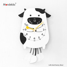 Mandelda Lovely Cartoon Swing Wall Clock Modern Design Home Decoration Clocks Children Creative Animal Watches