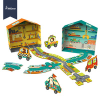 MiDeer 38PCS 3D Puzzle Transportation Circuit Track Hight Quality Paper Game for Kids Toddlers Educational Toys for Children