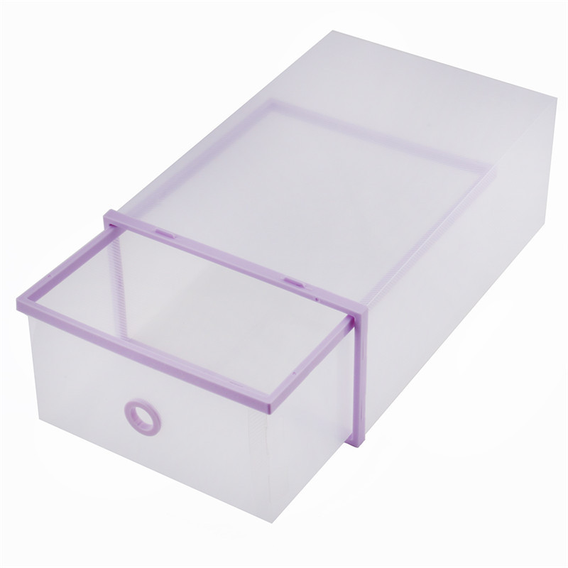 hot sale pink purple plastic shoes storage double storage box sundries organizer case shoe box. Black Bedroom Furniture Sets. Home Design Ideas