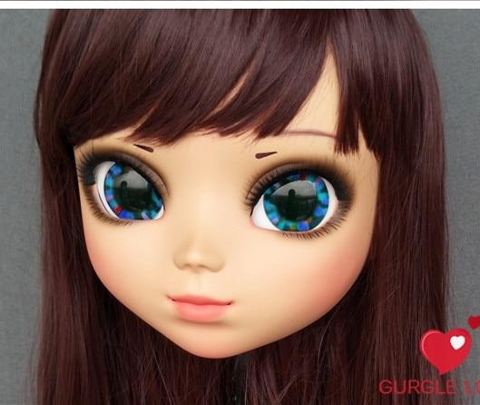 dm164 Expressive Lovely Sweet Girl Resin Half Head Kigurumi Mask With Bjd Eyes Cosplay Japanese Anime Role Lolita Mask Crossdress Doll