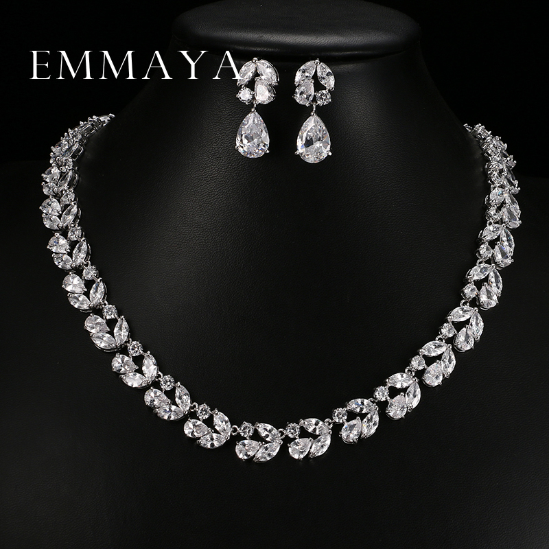 Emmaya Romantic Luxury Set Jewelry Flower Design Water Drop AAA CZ Crystal Wedding Jewelry Sets For Brides Gold Color Jewelry