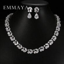 21ba69abcd6f Emmaya lujo romántico de la flor de la joyería diseño gota de agua AAA CZ  cristal boda Juegos de joyería para novias joyería del.