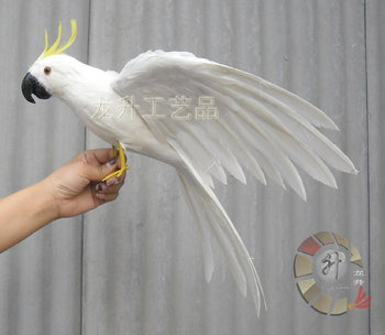 new simulaiton white Cockatoo toy polyethylene & furs wings White cockatoo bird doll gift about 43cm 2283