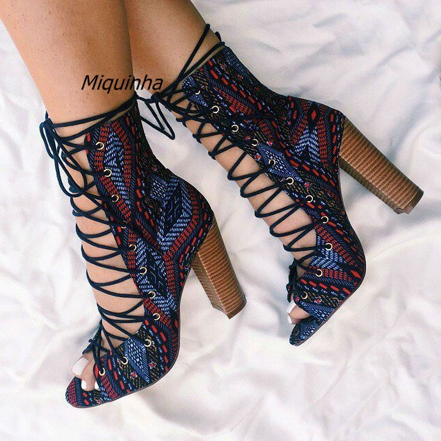Fashion Tribal Style Peep Toe Block Heel Lace Up Sandal Booties Women Sexy Cut-out Cross Strap Heels Unique Chunky Heel Sandals fashion navy suede cross strap block heel sandals sexy cut out open toe lace up heels classy slingback chunky heel dress sandals