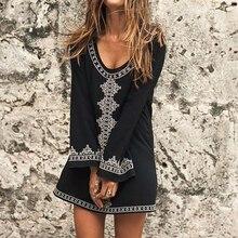 New Black Cotton Embroider Casual Mini Dress Tunic for Beach 2018 Pareos Long Sleeve O-neck Loose Vestidos