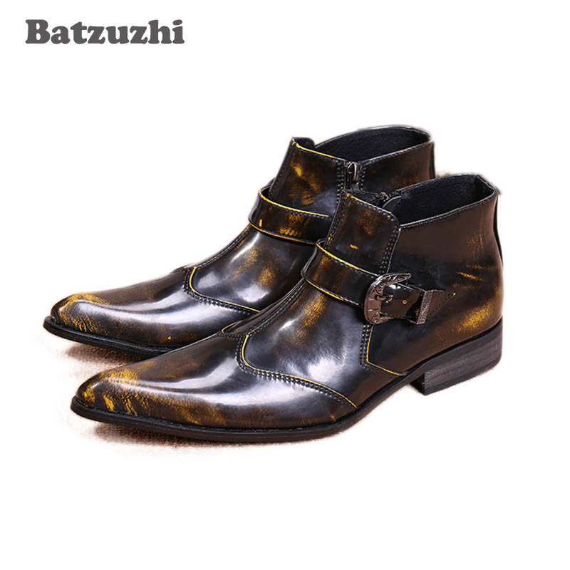 Batzuzhi New Italian Style Boots Men High Top Bronze Men Boots Pointy Toe Ankle shoes Boots for Men, Big size 45/46