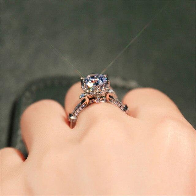 100% 925 Sterling Silver Anelli per Le Donne Bicchiere di Vino Da Sposa Bijouterie Anello Cubic Zirconia Fascini Fidanzamento Fine Jewelry