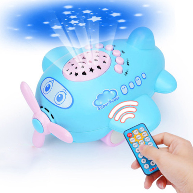 Baby Music Projector With Remote Control Sleeping Story Projector Night Lamp  Aircraft Toys Multifunction Projectors Kidu0027s