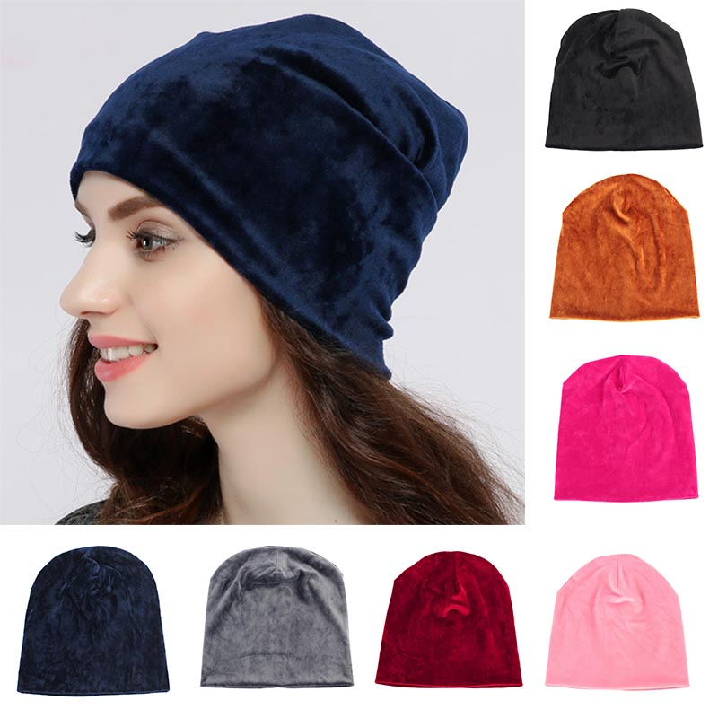 2018 New Women's Velvet Beanie Hat Winter Warm Polyester Skullies Beanies For Ladies Solid Velour Bonnet Hats Dropping Shipping