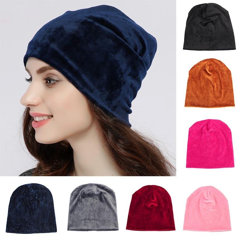 2018 New Women's Velvet Beanie Hat Winter Warm Polyester Skullies Beanies  for Ladies Solid Velour Bonnet Hats Dropping Shipping|Women's Skullies &  Beanies| - AliExpress