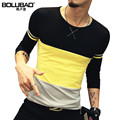 2016 New Arrival Autumn T-Shirt Men Fashion Long Sleeve T Shirt Men Casual Body Building T Shirt Men Size M-5XL
