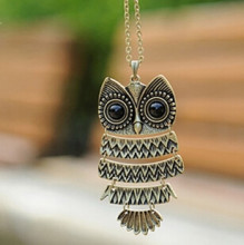 Retro Jewelry Vintage Ancient Bronze Big Eyes Owl Necklace Kitty Cat Pendant Statement Long Chain Choker Gift(China)