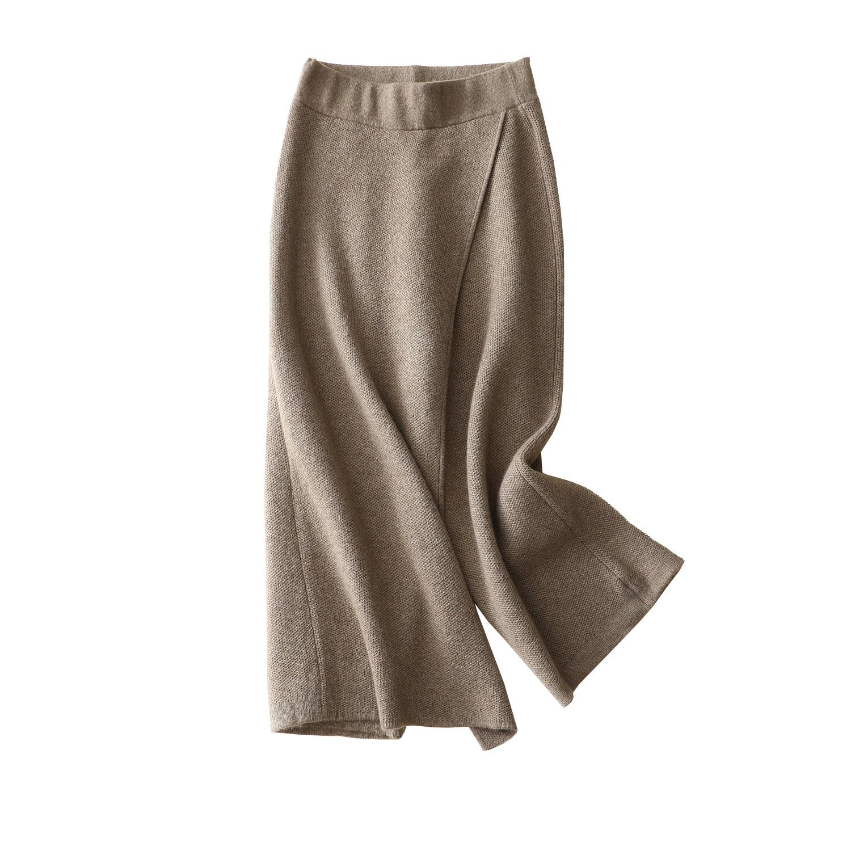 Shuchan Cachemire Taille Haute Jambe Large Pantalon Cheville-longueur Tricoté Lâche Office Lady Solide 2018 Mode Épais Pantalons Chauds femmes