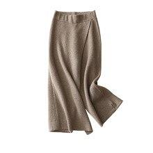 купить!  Shuchan Кашемировые брюки с высокой талией Широкие штаны Длинные лодыжки Трикотажные Свободные Леди