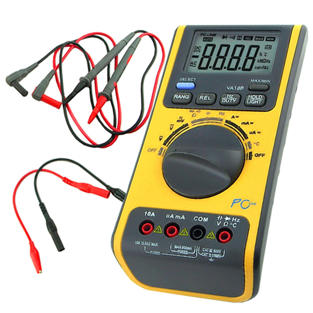 Palmare Multimetro Digitale Termometro Voltmetro Resistenza Capacità Ohm Diodo USB/CD BP con Software e cavo USB