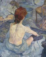 Original Quality Female Nude Art Oil Painting on Canvas for Bathroom Home Decor Woman at Her Toilet,1889 Post Impressionism