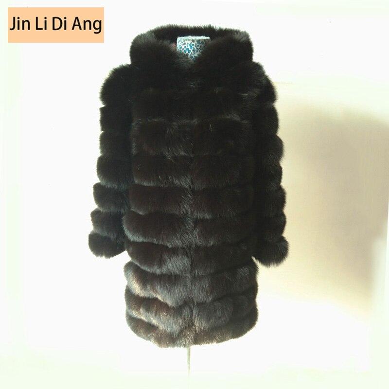 Enthousiast Jin Li Di Ang 2017 Vrouwen Natuurlijke Echte Jas Vest Lederen Vossenbont Afneembare Mouwen Jacket Met/out Kraag