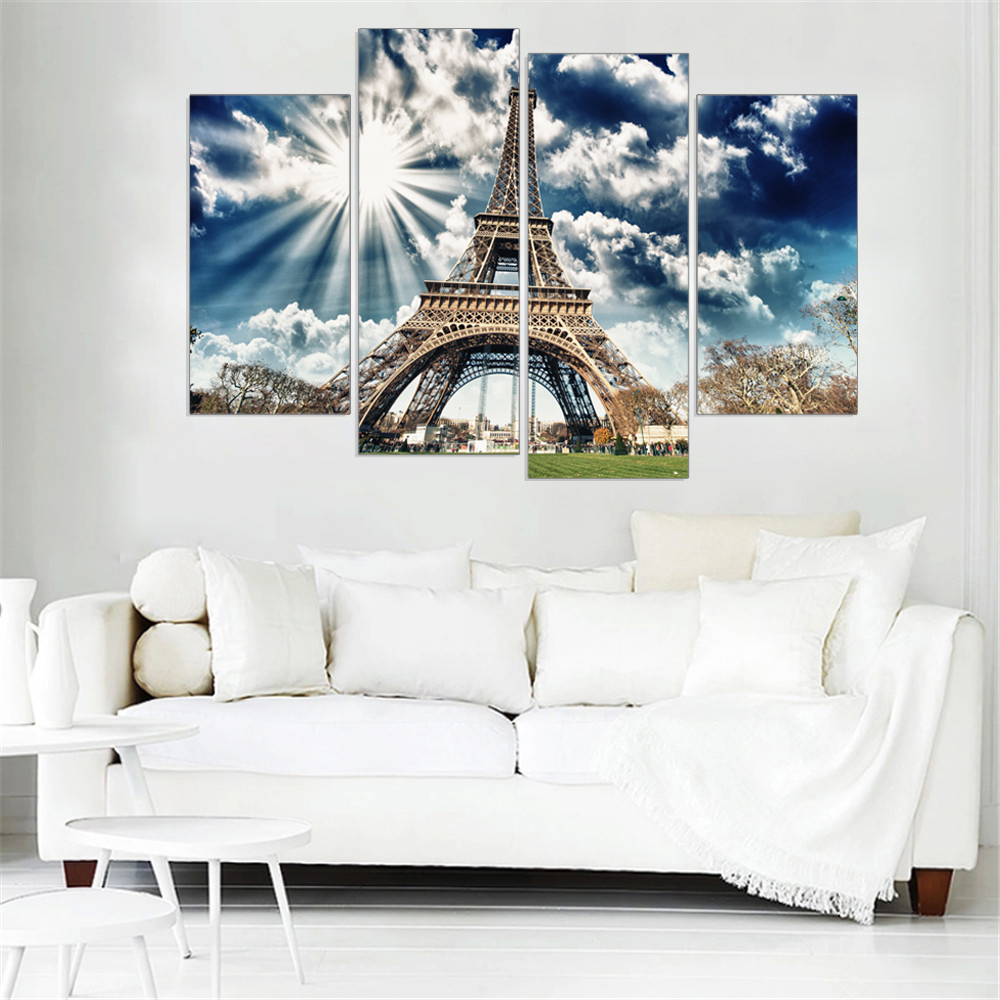 4 pieces modern oil picture canvas painting wall pictures home decoration city tower modular picture wall art canvas no frame
