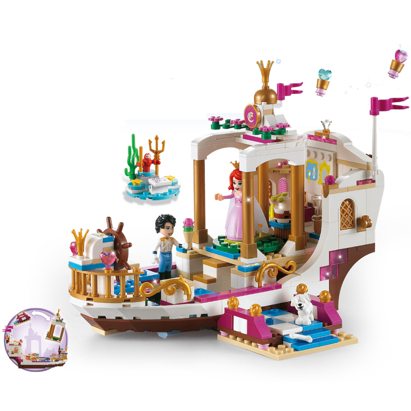Model Building Kits Toys & Hobbies 395pcs Mermaid Ariels Royal Celebration Ship Compatible Legoings Friends City Girls Diy Figures Assembled Building Blocks Gift Beneficial To The Sperm