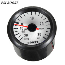 """EE support 2"""" 52mm Universal Black Shell White Screen Automobile Clock Pointer Boost Gauge PSI In.Hg Blue Led Boost Meter XY01"""