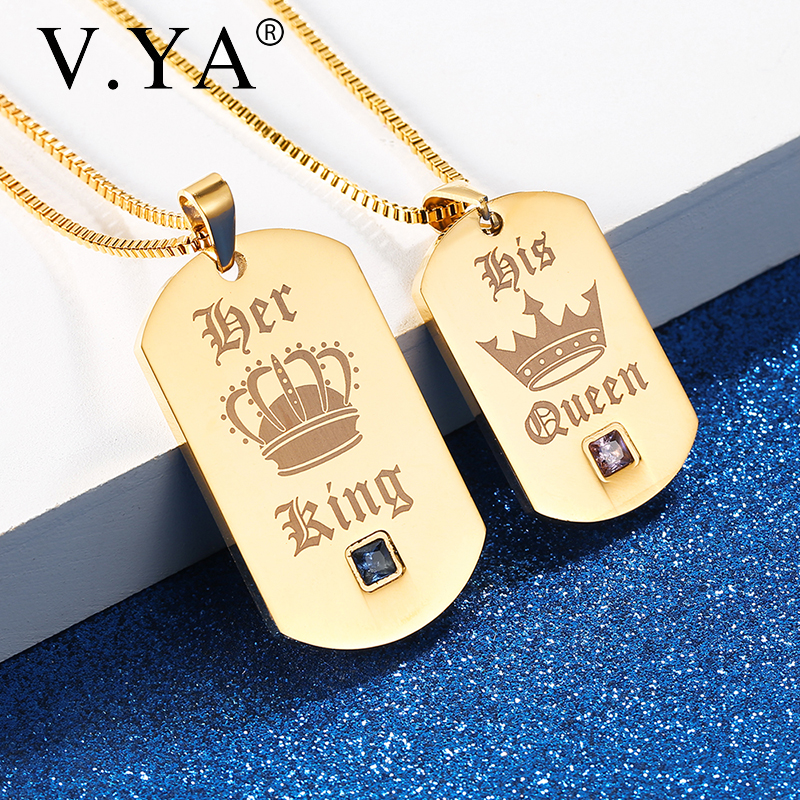 Her King & His Queen Couple Necklaces Gold Stainless Steel Customized Pendant For Men & Women Crown Tag Engraved Chains