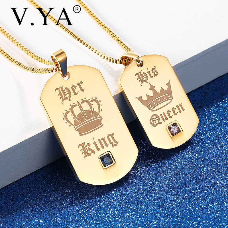 V. Ya Haar King & Zijn Koningin Paar Kettingen Goud Rvs Aangepaste Hanger Voor Mannen & Vrouwen Crown Tag Gegraveerd kettingen