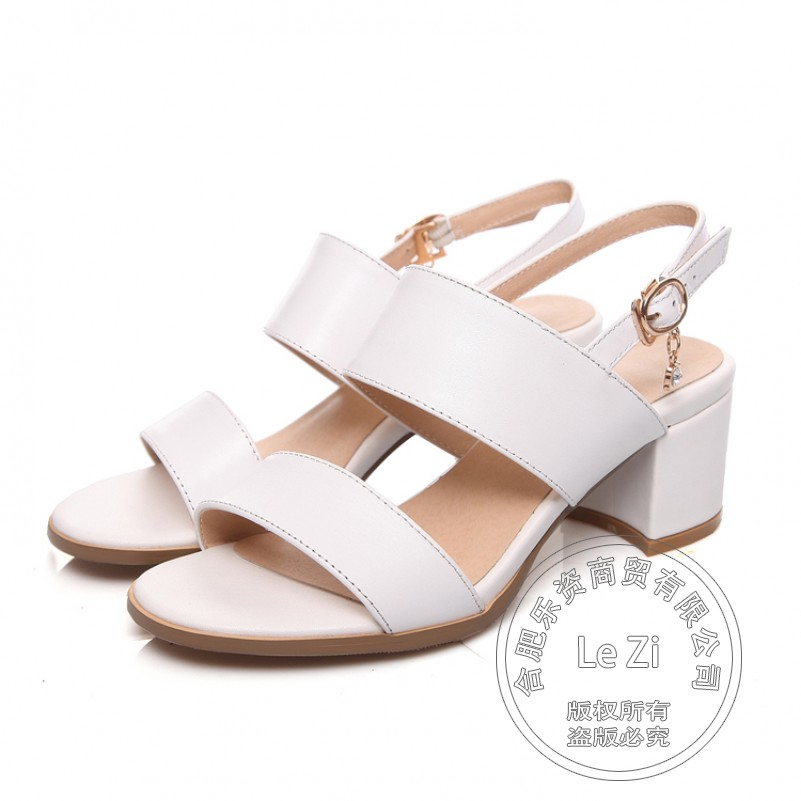 ФОТО Square Heel Shoes Mature Concise Temperament Synthetic Hasp Black High Heels Square Heel Solid Strappy Chunky Heel Daily