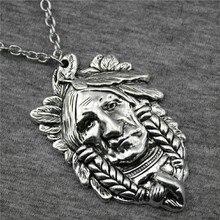 1 stück Schmuck Halskette Für Frauen Antike Silber Farbe 59x36mm Indische Chef Anhänger Halskette Weiblichen Geschenk Vintage