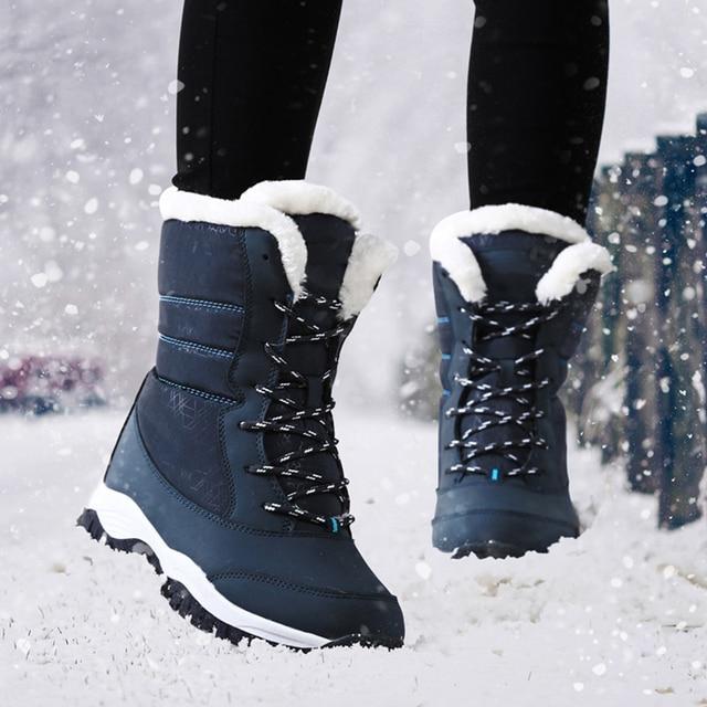 冬のブーツの女性の防水冬の雪のブーツ女性暖かい毛皮ノンスリップ靴女性冬ウェッジプラットフォームアンクルブーツ女性のための