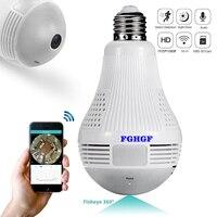 FGHGF 1080P HD Bulb Light Wireless IP Camera Wi FI Fisheye Mini Lamp Wifi Flexible Camera