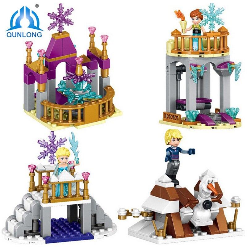 Qunlong 4in1 Princesse Blocs de Construction Cendrillon Arendelle Château Anna Elsa Filles Figure Compatible Legoe Amis Enfants Jouets Cadeau