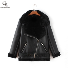 Winter Fashion High Quality Artificial Fur  Zipper Coat Pockets Warm Couples Sashes  Leather Jackets Woman