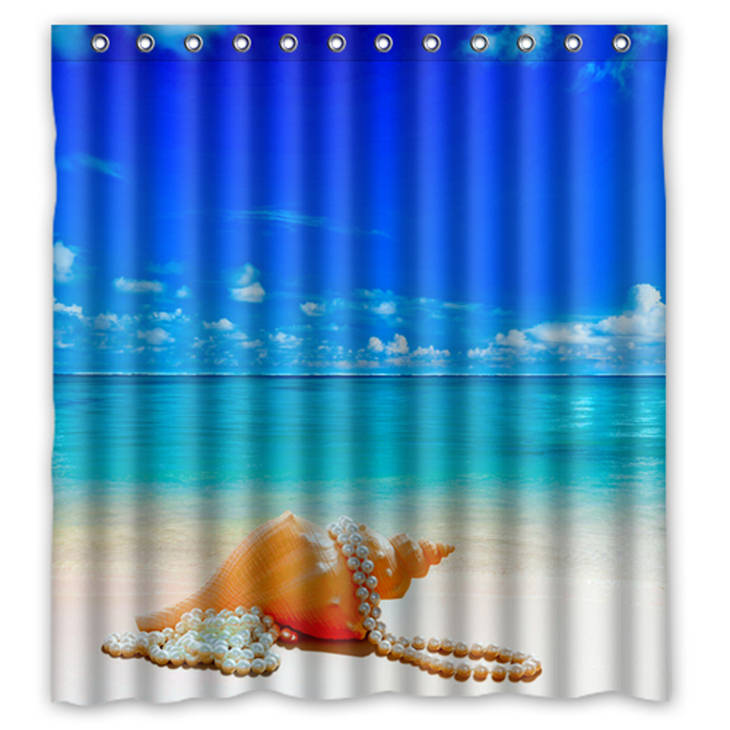 Snail Shower Design Ideas: Seabeach Sea Snail Pearl Customized Design Fabric Curtain