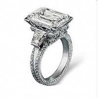 Big Princess cut 10ct Simulated Diamond Pave 408pcs CZ Stone Wedding Ring Luxury 925 Sterling Silver Eiffel Tower Ring for Women